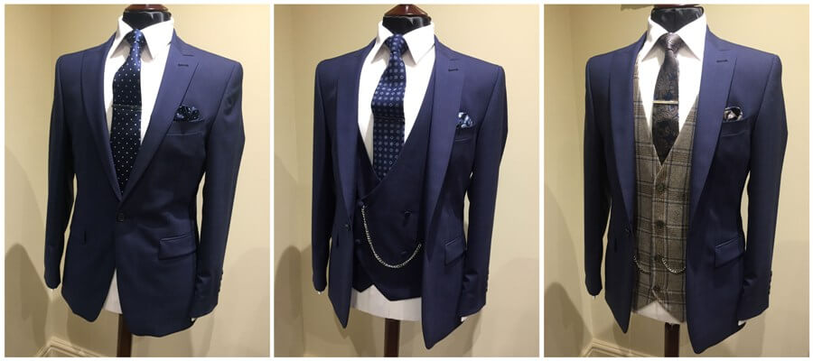 A collage showing a navy suit jacket with different style and colour waistcoats and ties.