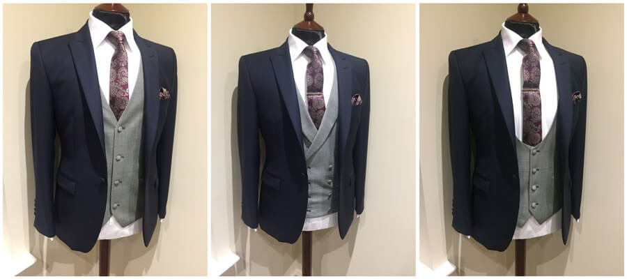 A collage showing the different waistcoat styles available at Whitfield and Ward.
