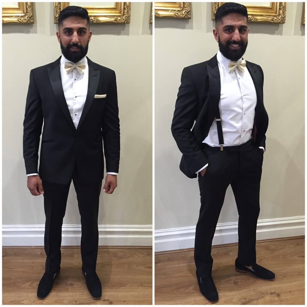 Side by side image of a man posing in his black dinner suit with a champagne coloured bow tie.