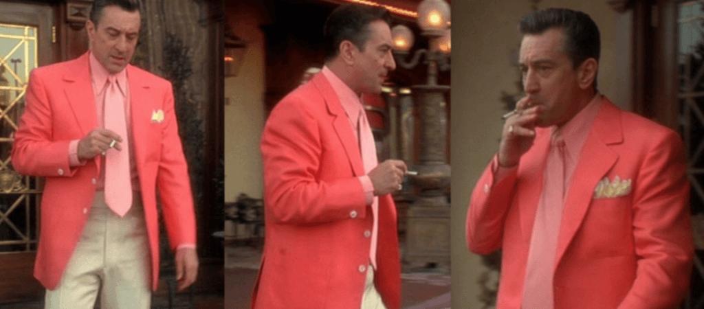 Robert de Niro from Casino wearing a salmon pink suit