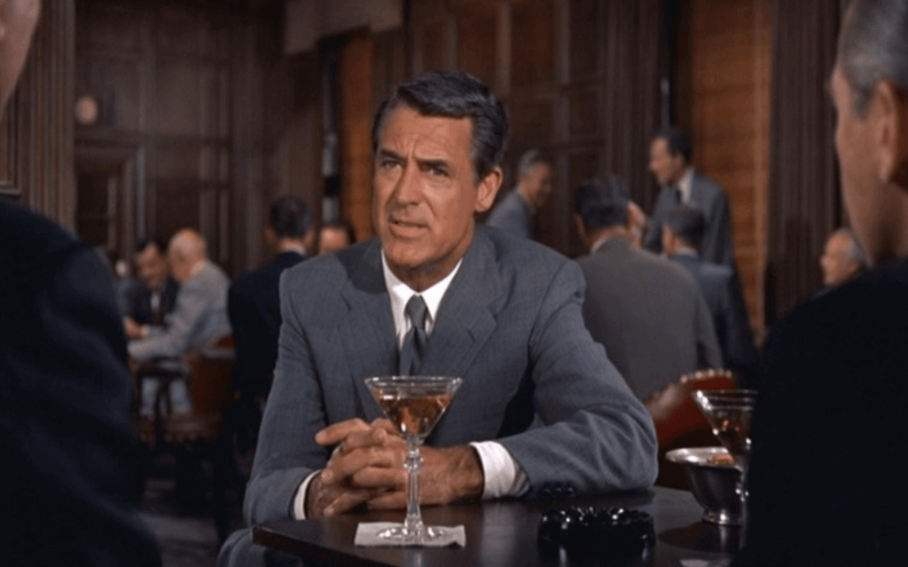 Cary Grant in North by North West wearing an iconic grey suit
