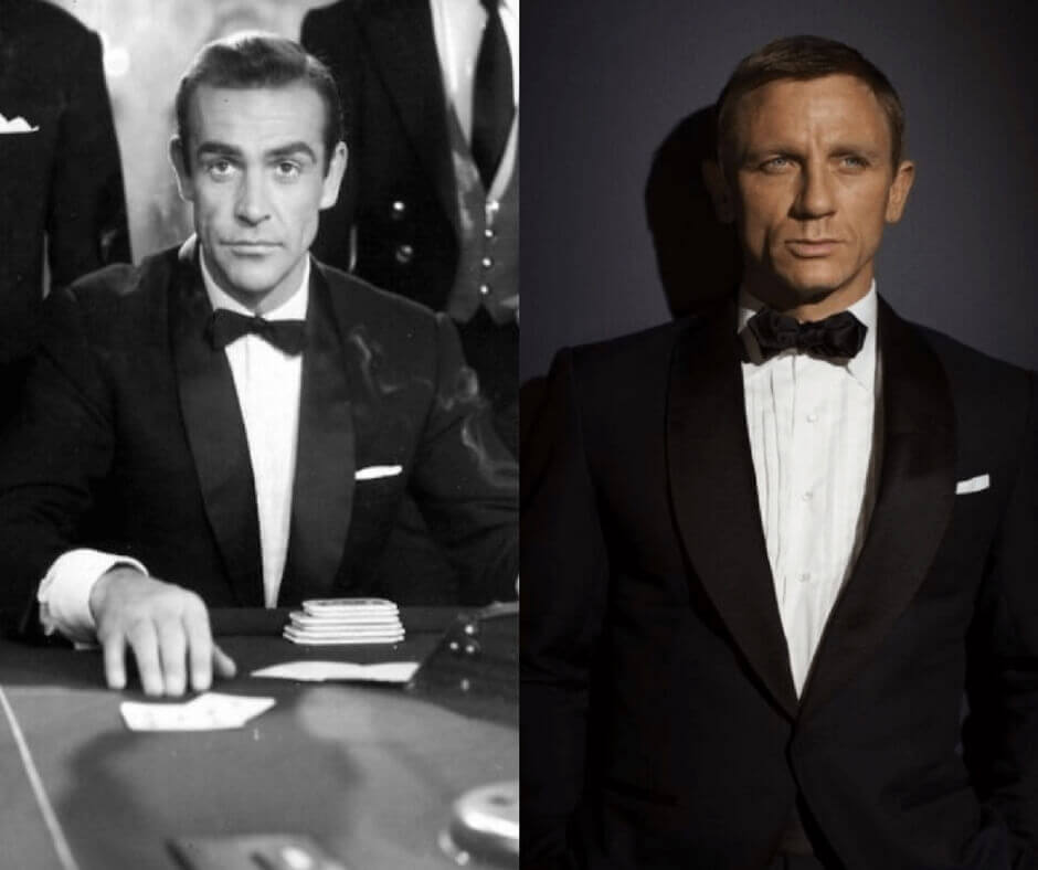 e0b78f936c A side by side image of Sean Connery and Daniel Craig as James Bond wearing  a
