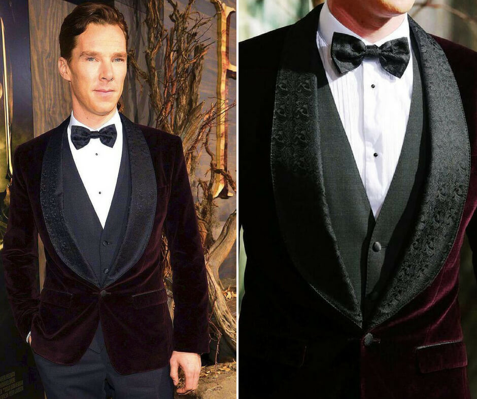 Benedict Cumberbatch wearing a burgundy velvet suit and a bow tie.