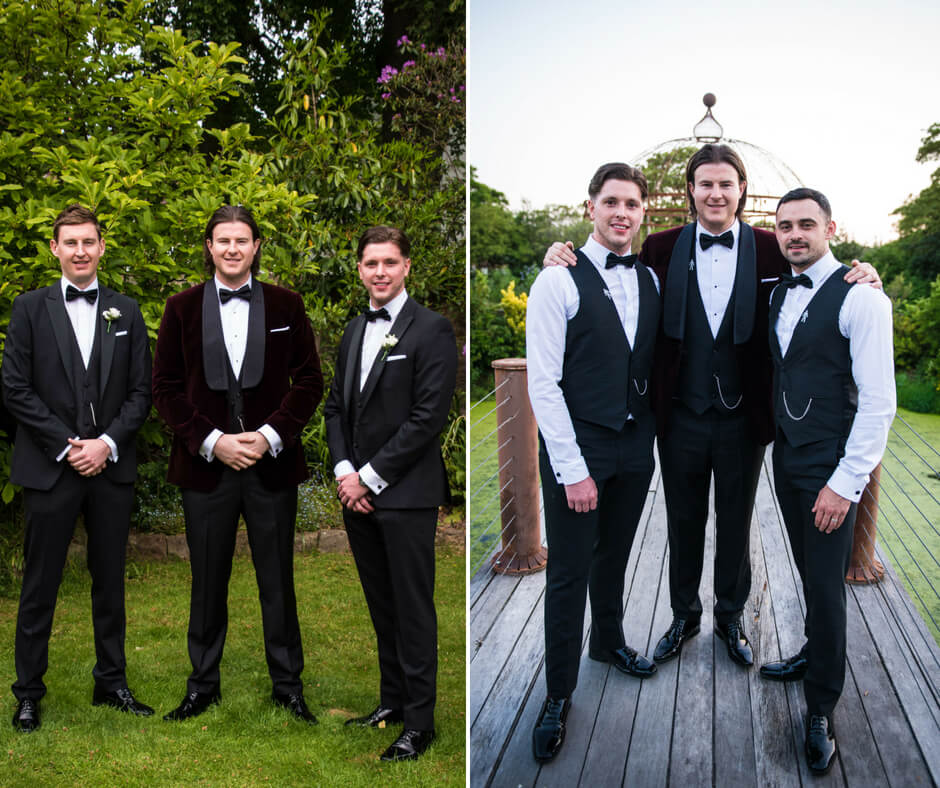 The groom poses with his ushers, all wearing bow ties with their 3 piece suits.