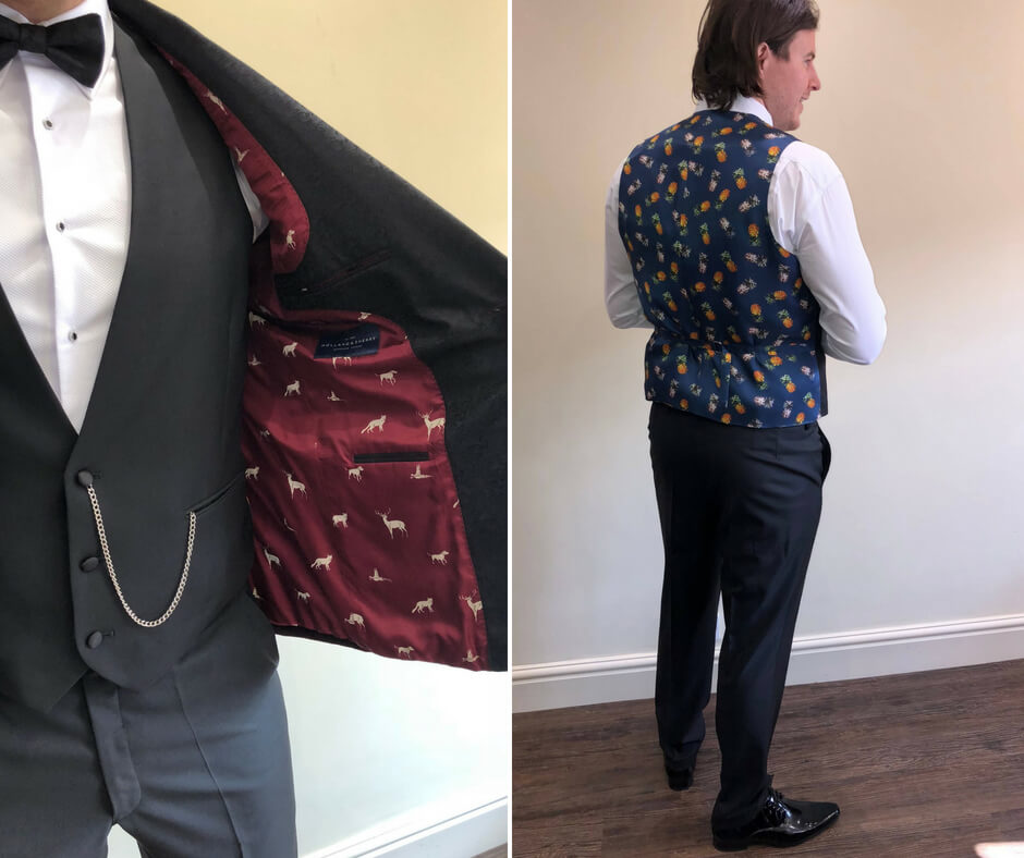 Detail shots of the patterned lining of a suit jacket and back of the groom's waistcoat.