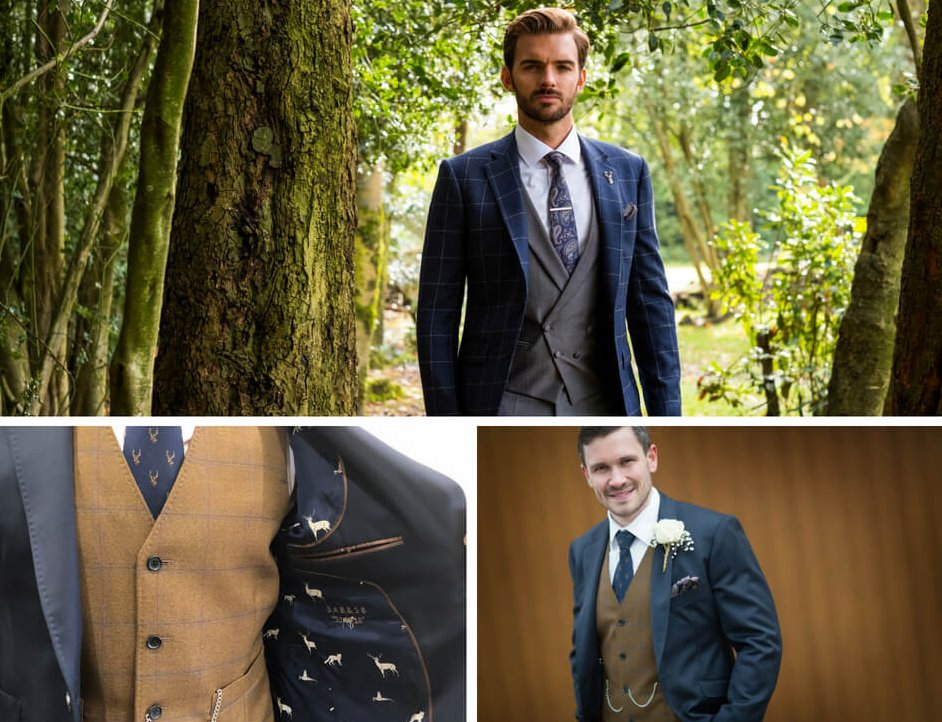 A collage of shots of mixed style suits, with the suit jacket colours different to the colours of the waistcoat to create a contrast.