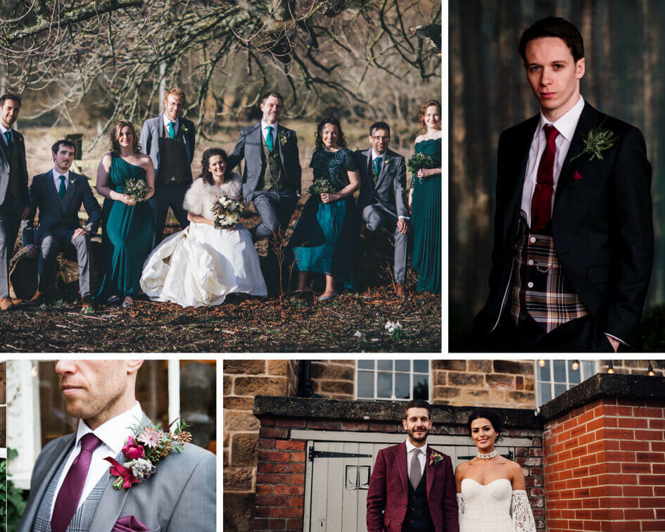 A collage of wedding outfits in jewel tones, with a focus on teals and maroons.