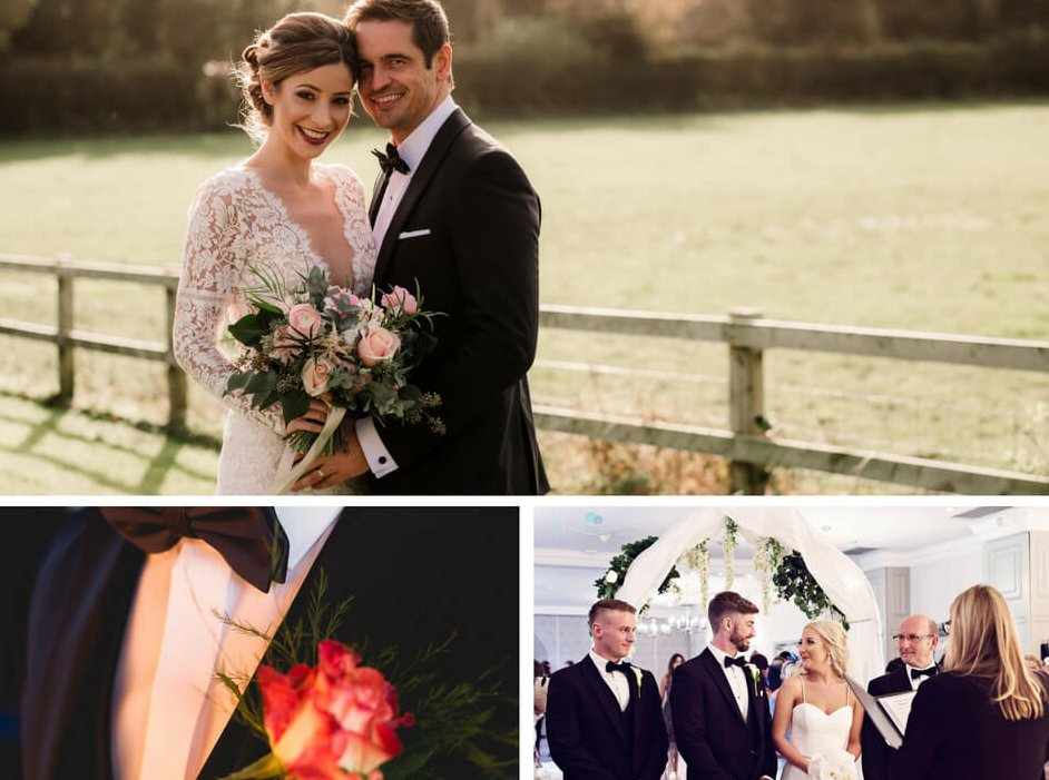A collage of a selection of wedding photos. The bottom left image is a close up detail of a suit jacket with a bow tie.