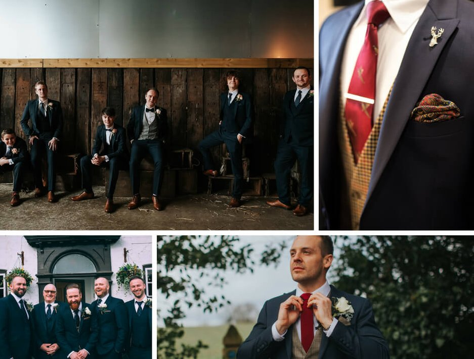 A collage of shots of grooms and their ushers wearing a variation of Whitfield and Ward suits. The top right image is a close up shot of a suit jacket with a red tie and matching pocket square.