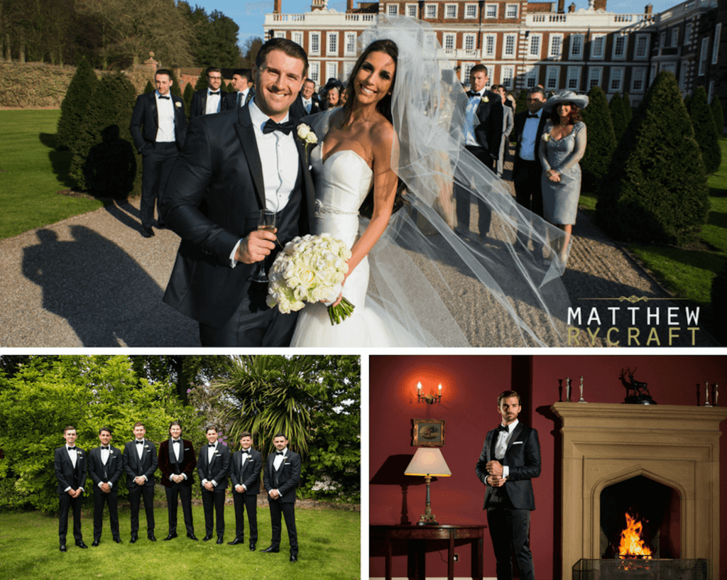 A collage of wedding photos with the grooms and ushers wearing black suits with bowties.