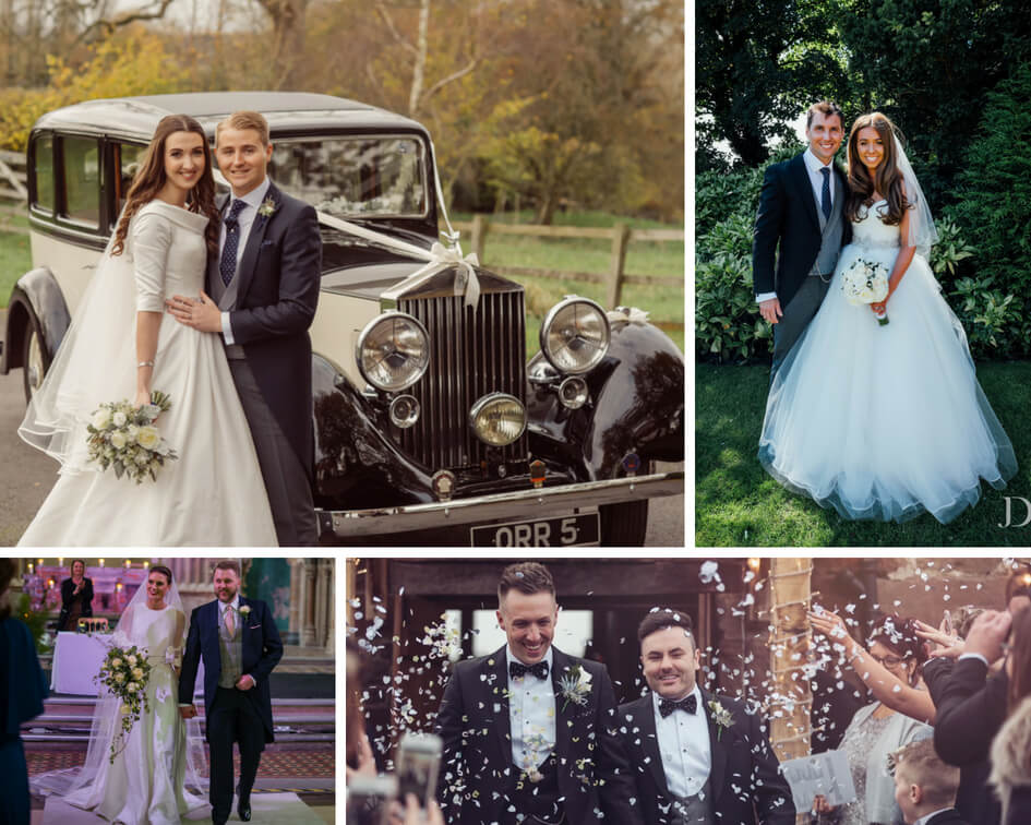 A collage of newly married couples on their wedding day, with the grooms wearing a selection of Whitfield and Ward suits.