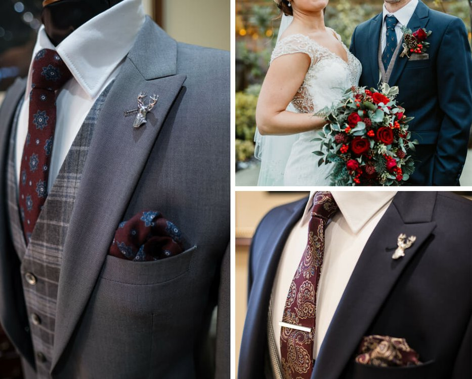 A collage of close up detail shots of patterned ties and pocket squares against suits. The top right image is a close up shot of a bride and groom's outfits.