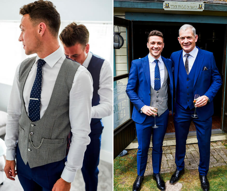 Left: An usher helping the groom to tie his waistcoat. Right: The groom and his dad wearing blue 3 piece suits.