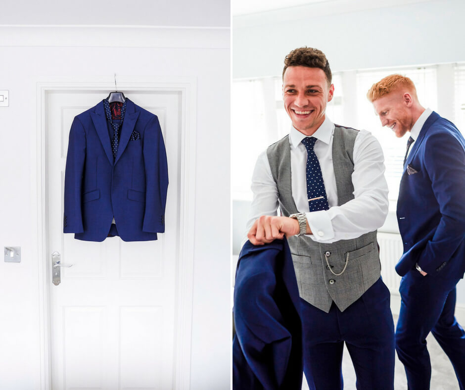 Left: The groom's navy suit jacket hanging on the doorframe. Right: The groom and an usher laughing in a candid shot.