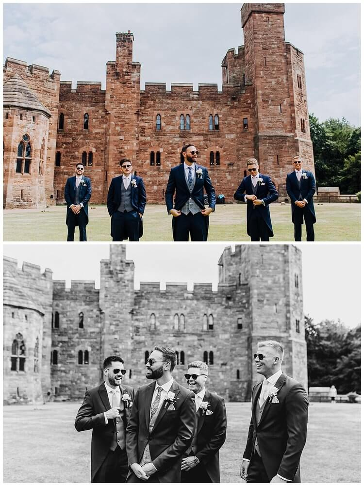 Candid shots of the groom and his ushers in the grounds of Peckforton Castle.