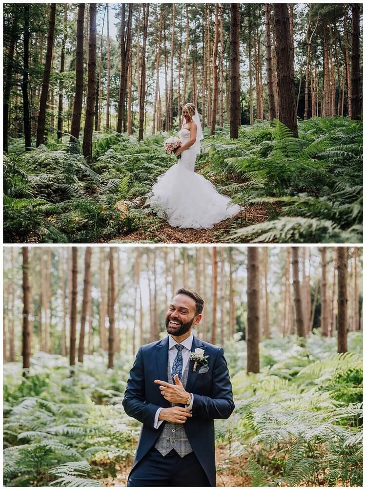 Top image: The bride holding her bouquet in the woods. Bottom image: The groom laughing and fixing his cuff in the woods.