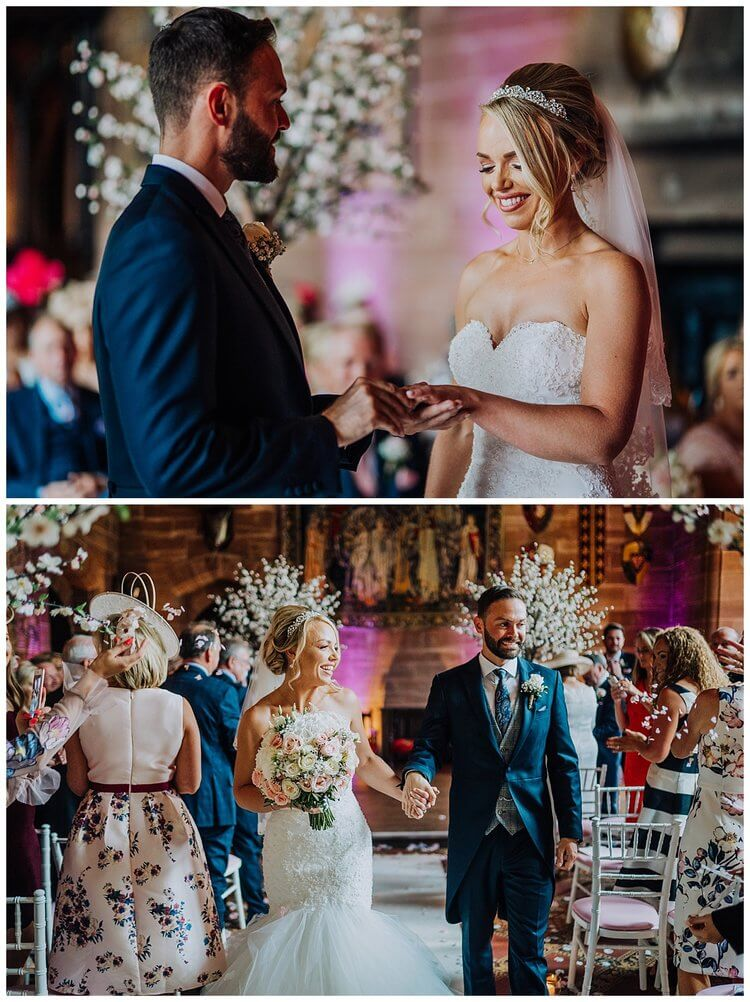 Candid shots of the wedding ceremony, the top image being the groom putting the ring on the bride's ring finger, the bottom image shows the bride and groom walking down the aisle hand in hand.