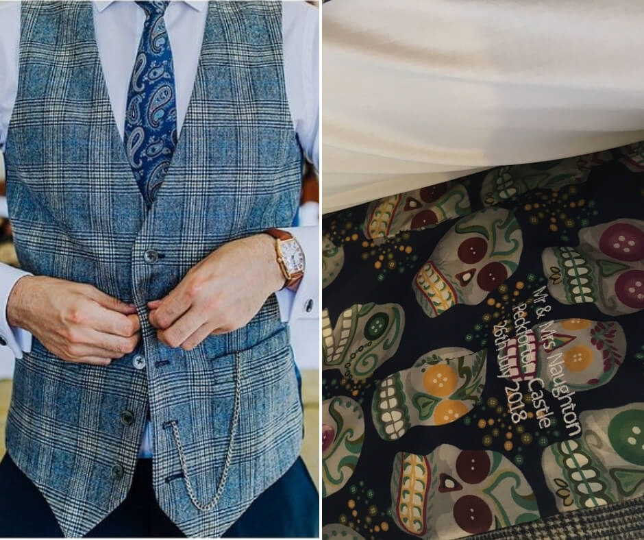 A close up shot of the groom buttoning his checked blue waistcoat, alongside a detail shot of the personalised inner lining of the waistcoat.