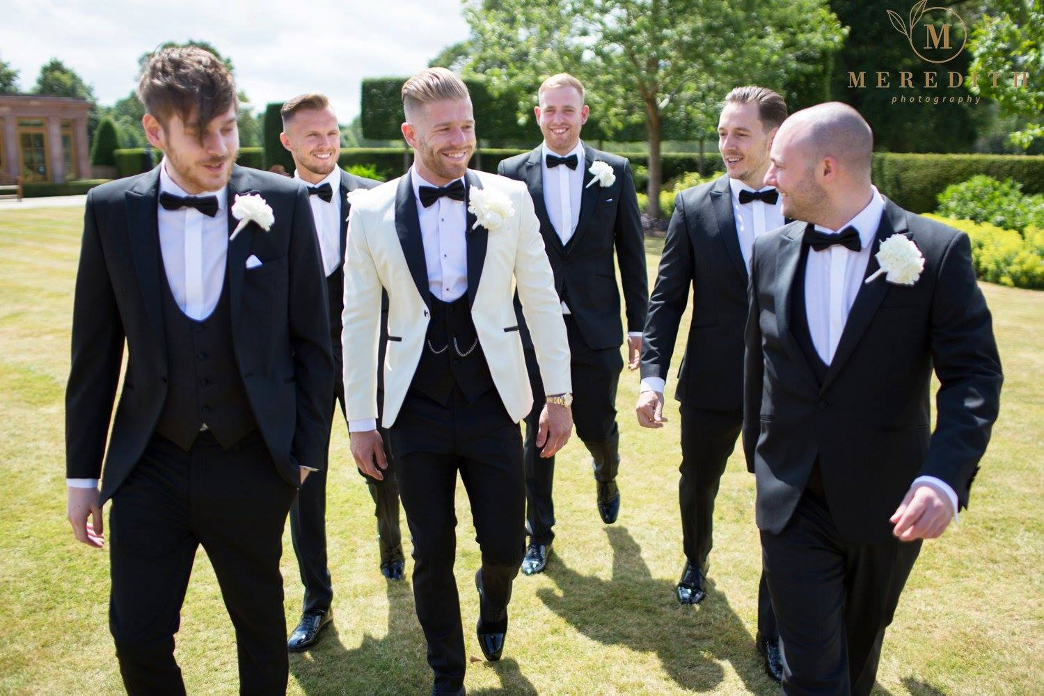 Adam & his groomsmen at Merrydale Manor wearing dinner suits