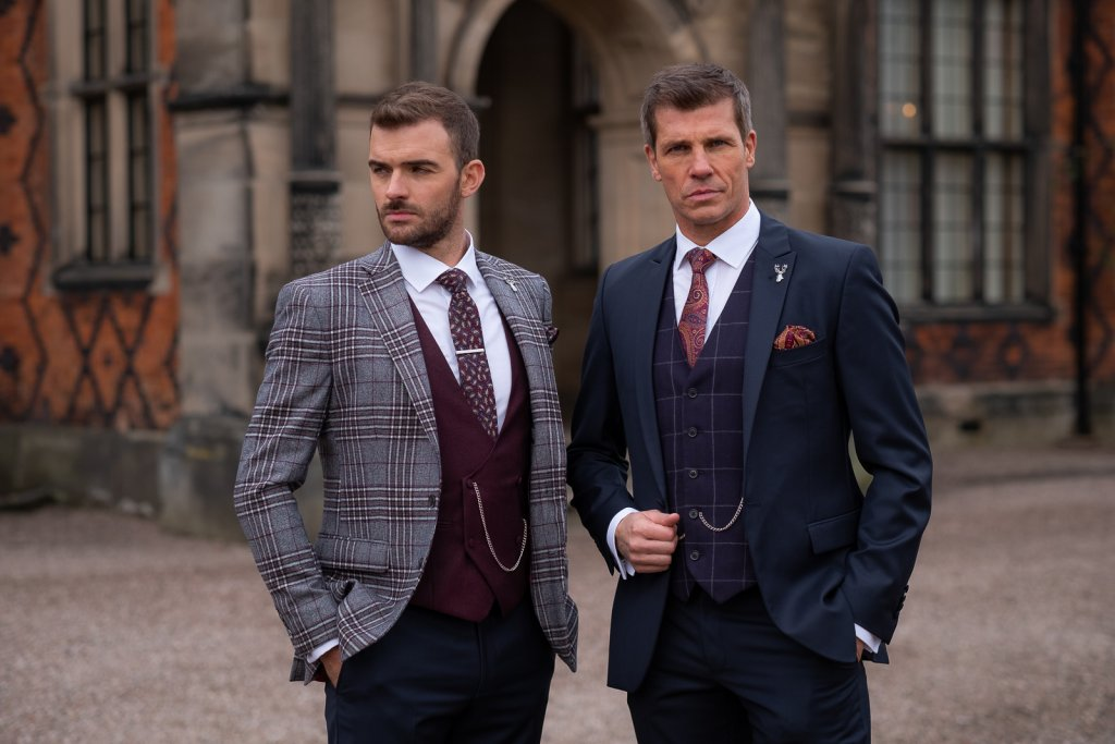 Two gents stood outside wearing lounge suits in contrasting colours