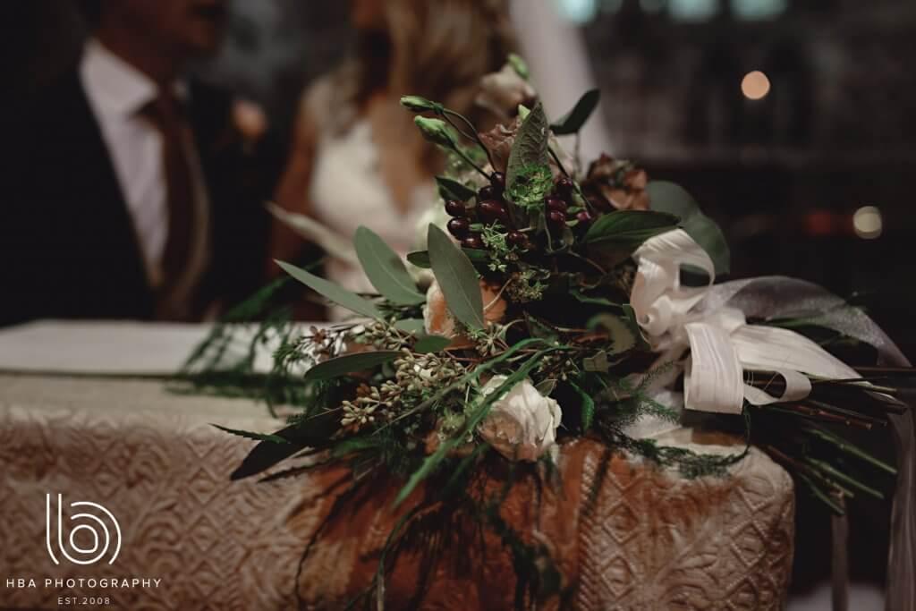 A bride's floral arrangement