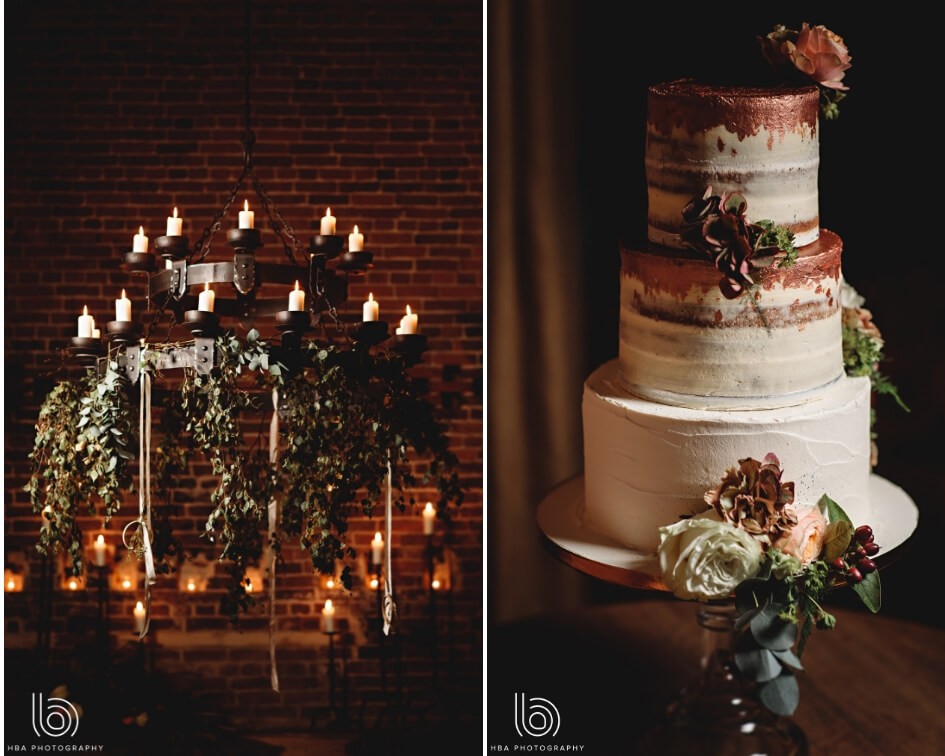 Collage of a rustic chandelier and wedding cake