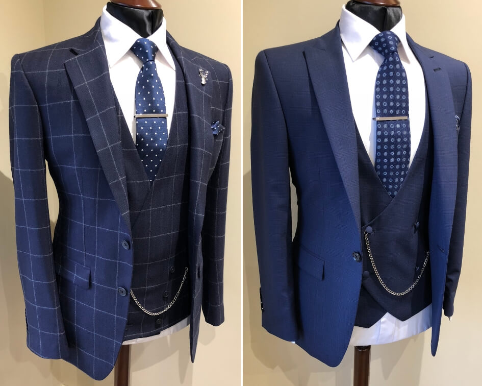 Two images of blue suits with double breasted waistcoats