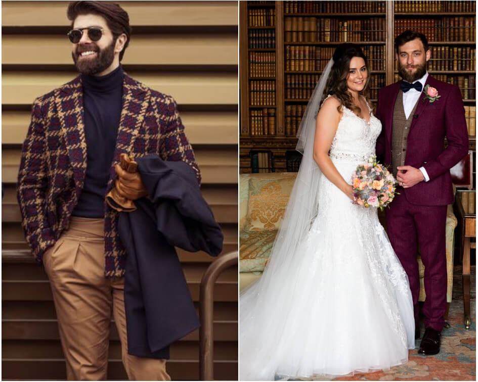 Groom wearing a Burgundy suit inspired by pitta uomo trend