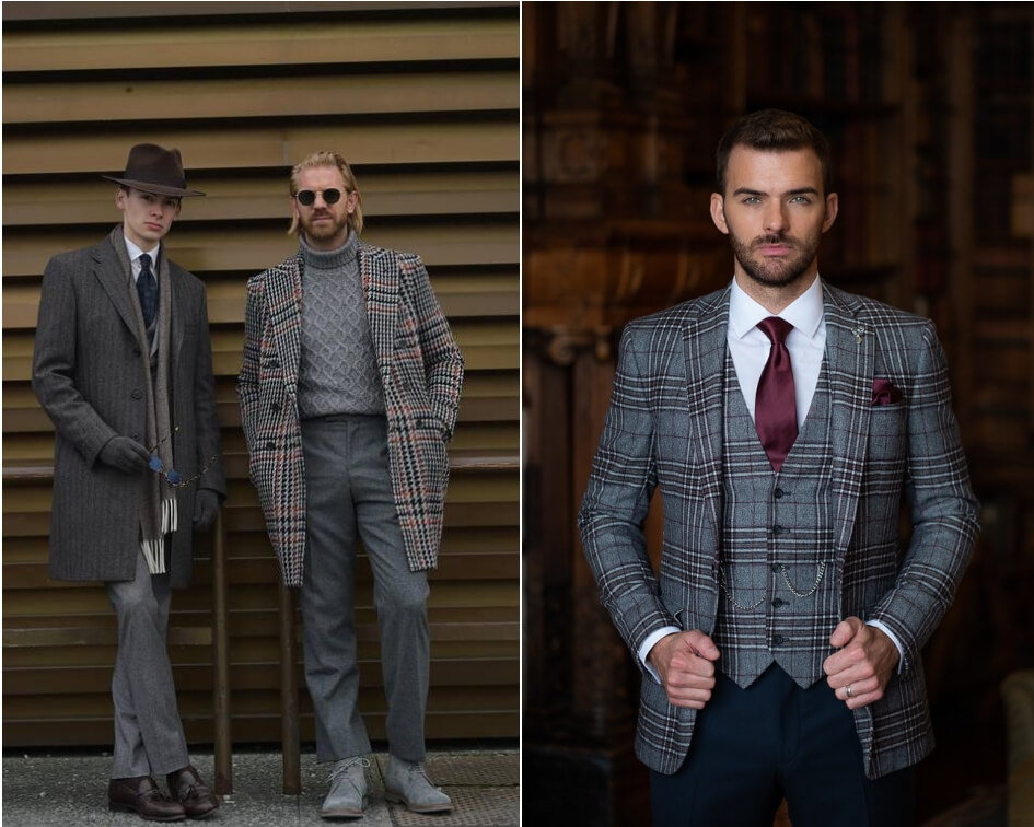 A groom wearing a check suit inspired by Pitti Uomo street style